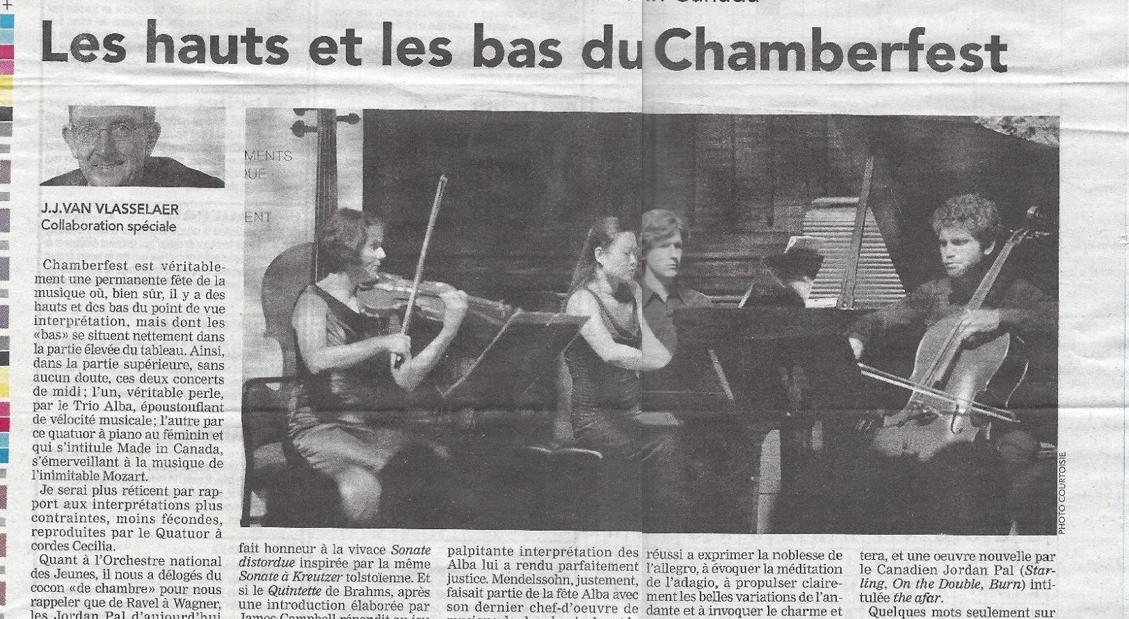 Review: J.J. Van Vlasselaer – Ottawa Chamberfest 2014